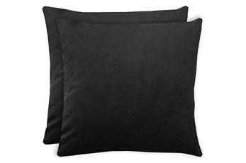 20X20 Set Of 2 Superb Gunmetal Black Velvet Throw Pillow