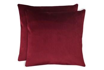 20X20 Set Of 2 Superb Wine Red Burgundy Velvet Throw Pillow