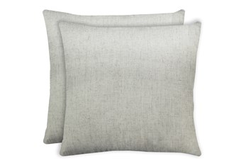 24X24 Set Of 2 Caitlin Flax White Linen Throw Pillow