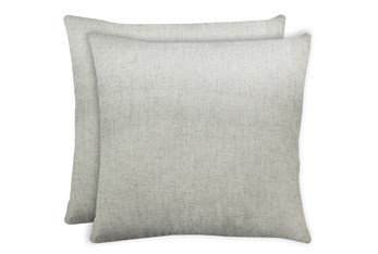 20X20 Set Of 2 Caitlin Flax White Linen Throw Pillow