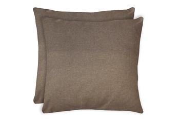 24X24 Set Of 2 Jitterbug Taupe Brown Linen Throw Pillow