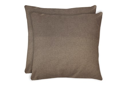 24X24 Set Of 2 Jitterbug Taupe Brown Linen Throw Pillow - Main
