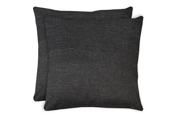 24X24 Set Of 2 Jitterbug Gray Linen Throw Pillow