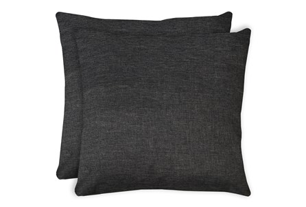 24X24 Set Of 2 Jitterbug Gray Linen Throw Pillow - Main