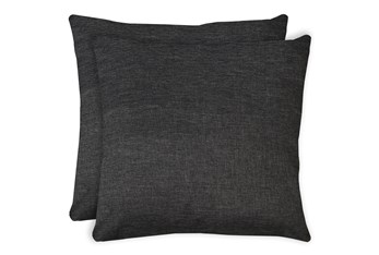 20X20 Set Of 2 Jitterbug Gray Linen Throw Pillow