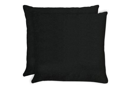 24X24 Set Of 2 Bravado Caviar Black Throw Pillow - Main