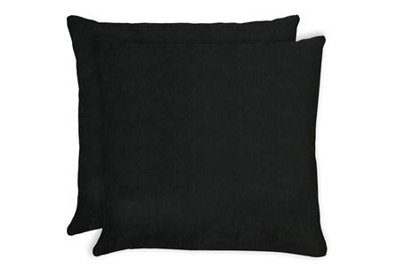 24X24 Set Of 2 Bravado Caviar Black Throw Pillow - Main