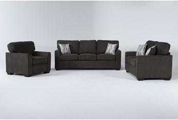 Shea Graphite 3 Piece Living Room Set