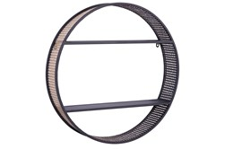26 Inch Round Black Metal + Cane Wall Shelf