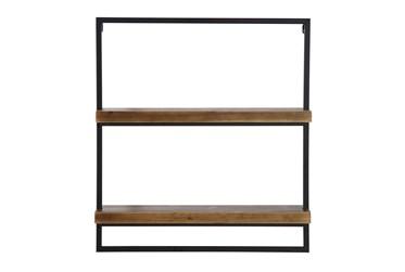 Wood + Metal Shelf With 2 Shelves