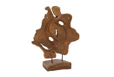 19 Inch Natural Teak Wood Sculpture On Stand