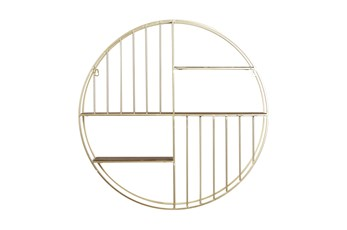 28 Inch Gold Metal + Wood Round Wall Shelf