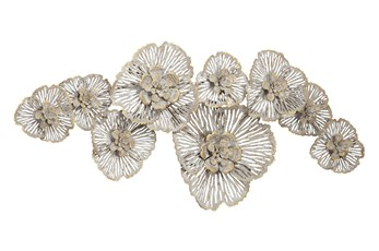 Metal Grey And Gold Flower Wall Decor