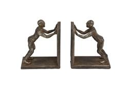 Human Figurines Metal Bookend Pair
