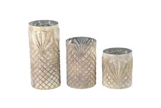 Antiqued Textured Glass Candle Holders-Set Of 3