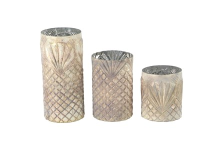 Antiqued Textured Glass Candle Holders-Set Of 3 - Main