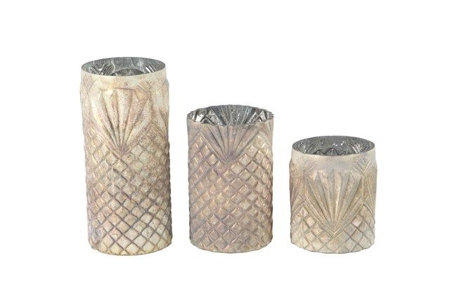Antiqued Textured Glass Candle Holders-Set Of 3  - 360