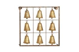 Metal And Wood Brass Bell Wall Plaque