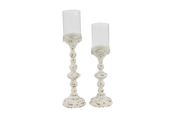 White Metal And Glass Turned Candle Holders-Set Of 2