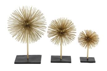 Gold Metal Star Sculpture-Set Of 3