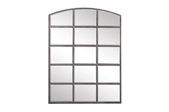 48 Inch Arched Metal Grid Mirror