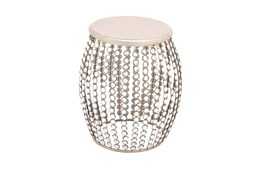 16 Inch Silver Bead And Wood Accent Table