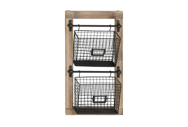 Wood And Black Wire Basket Wall Rack - 360