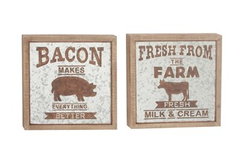Framed Wood And Galvanized Metal Farm Wall Decor-Set Of 2