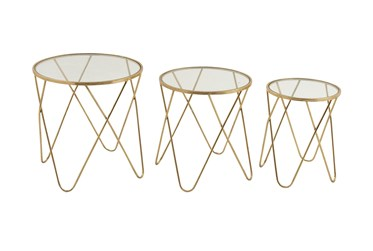 Contemporary Geometric Gold Accent Tables-Set Of 3