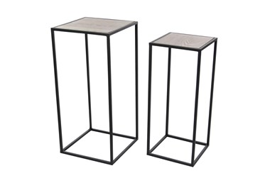 Modern Square Iron And Pine Wood Pedestals-Set Of 2