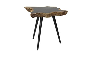Root Wood And Metal Accent Table