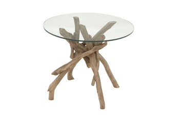 Natural Driftwood Logs And Glass Accent Table