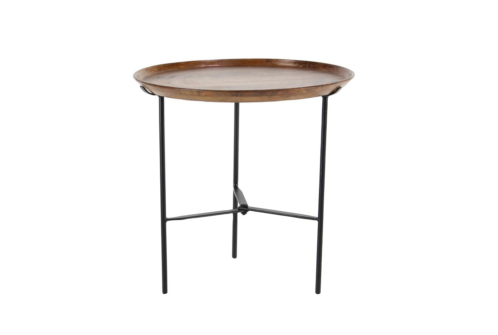 19 Inch Small Round Black Metal And Wood Accent Table