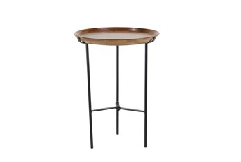 16 Inch Round Wood And Metal Tray Accent Table