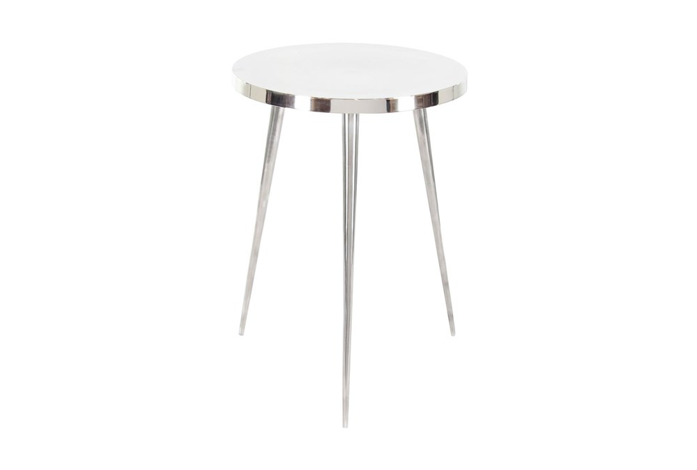 16 Inch Contemporary Silver Aluminum Round Three-Legged Accent Table