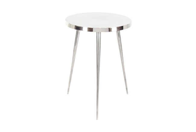 16 Inch Contemporary Silver Aluminum Round Three-Legged Accent Table - 360
