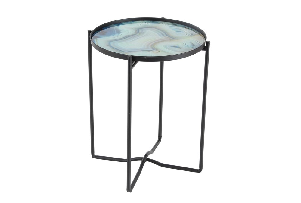 16 Inch Light Blue Glass And Iron Accent Table