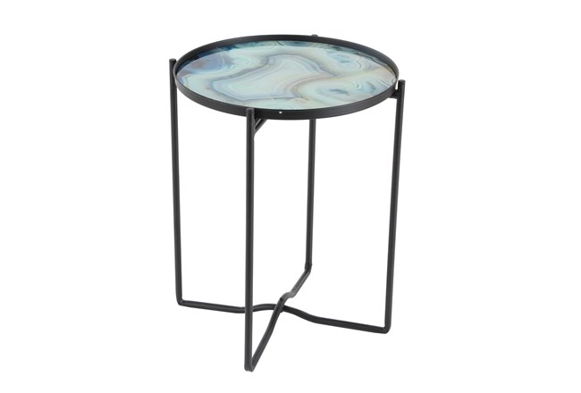 16 Inch Light Blue Glass And Iron Accent Table - 360