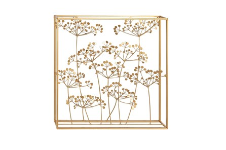 Framed Gold Metal Floral Wall Decor - Main