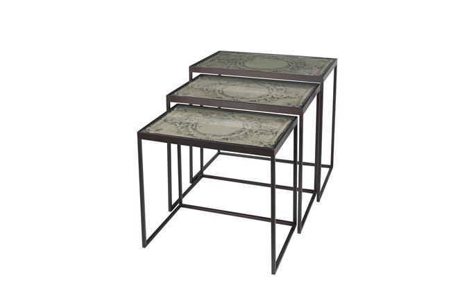 Small Black Metal & Carved Vintage Grey Wood Nesting Accent Tables-Set Of 3 - 360