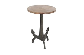 Small Wood And Metal Anchor Side Table