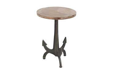 Small Wood And Metal Anchor End Table