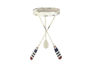 White Metal And Wood Oar Accent Table