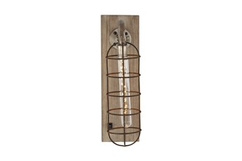 Wood And Metal Caged Led Light Wall Sconce