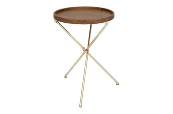 20 Inch Round Gold And Wood Accent Table