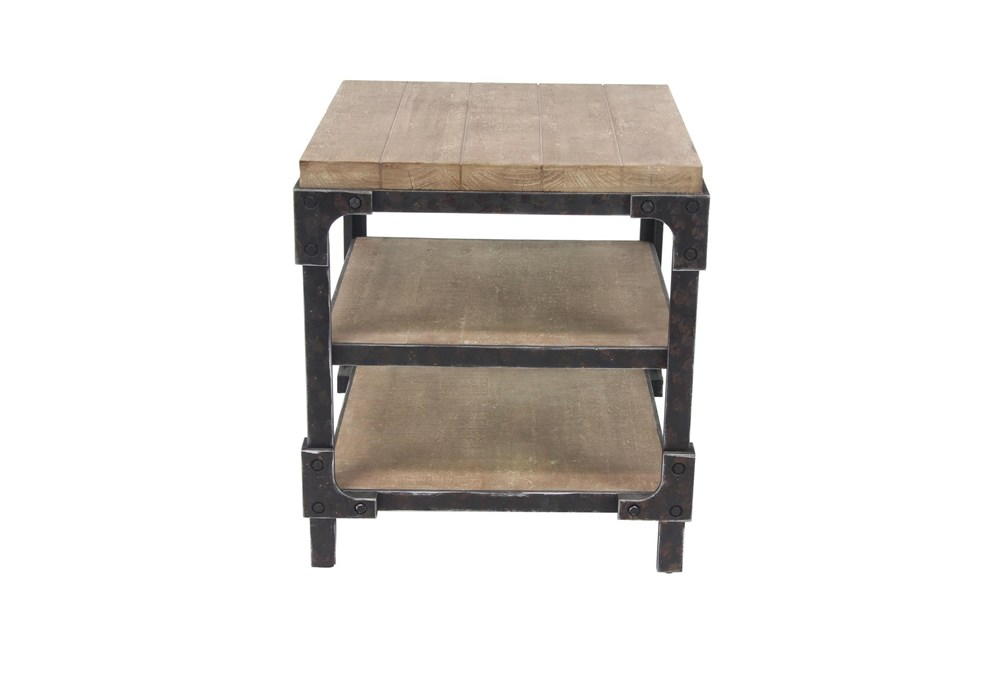 Industrial 3-Tiered Bracketed Wooden Side Table