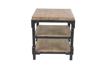 Industrial 3-Tiered Bracketed Wooden End Table