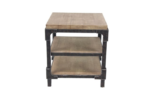 Industrial 3-Tiered Bracketed Wooden Side Table - 360