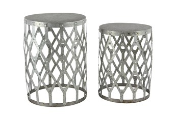 Farmhouse Round Aluminum Accent Tables-Set Of 2