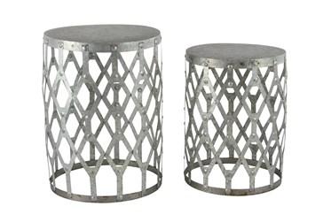 Farmhouse Round Aluminum Accent Tables-Set Of 2